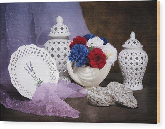 White Porcelain Still Life Wood Print
