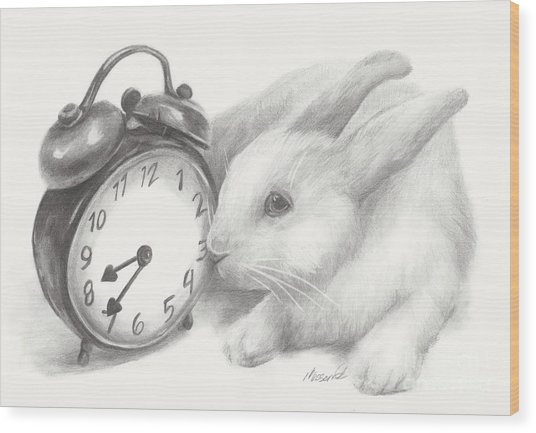 White Rabbit Still Life Wood Print