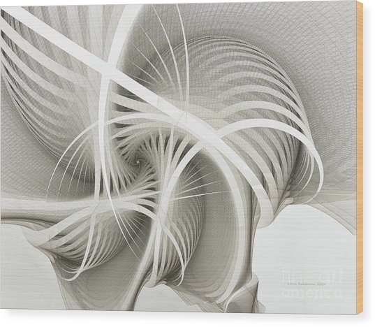 White Ribbons Spiral Wood Print