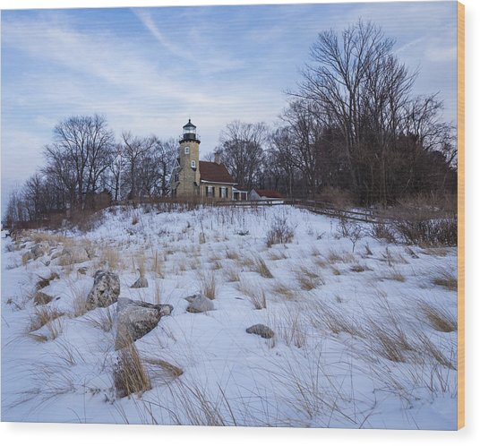 White River Lighthouse In Winter Wood Print