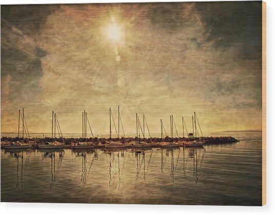 White Rock Sunset Wood Print