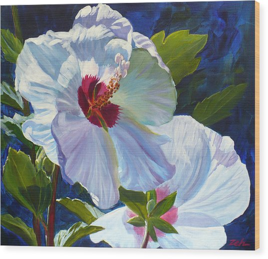 White Rose Of Sharon Wood Print