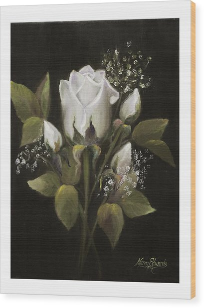 White Roses Wood Print by Nancy Edwards
