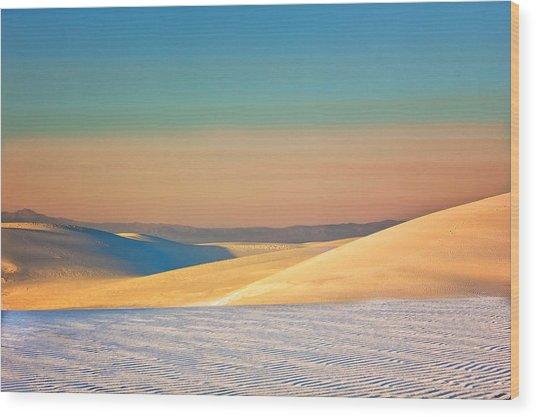 White Sands Sunset Wood Print