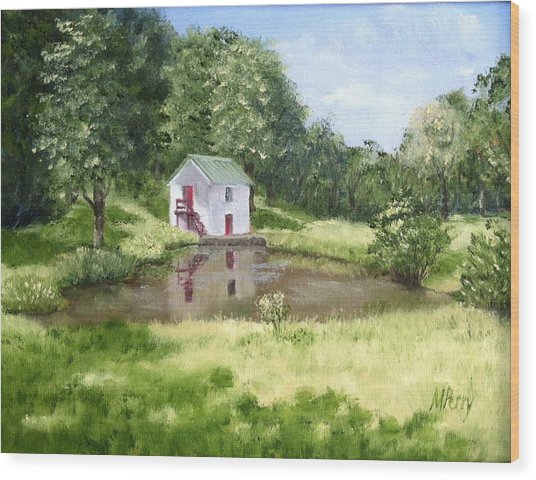White Springhouse Wood Print
