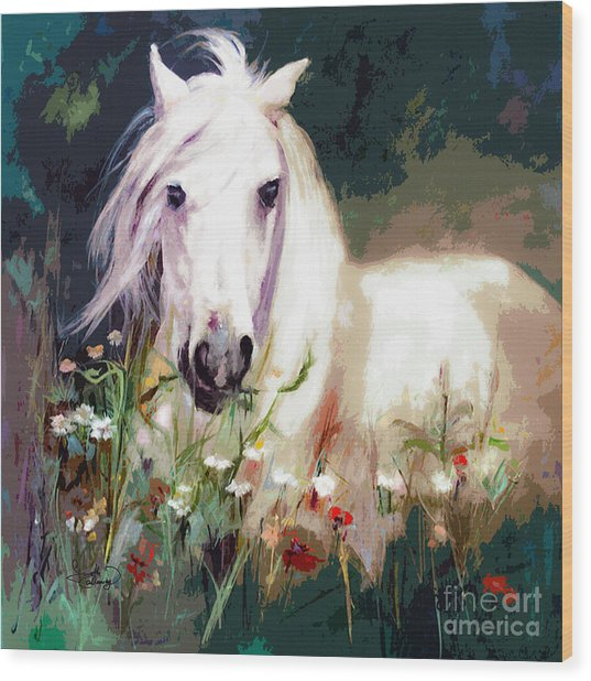 White Stallion In Wildflower Field Wood Print