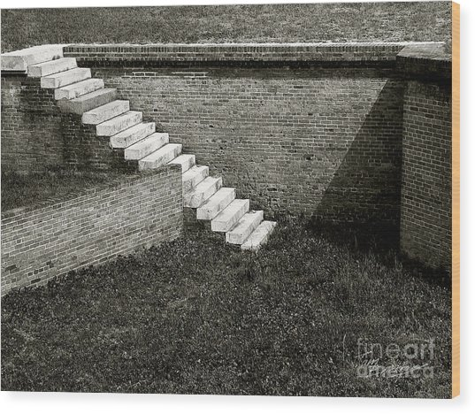 White Steps At Fort Barrancas Wood Print