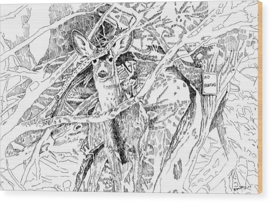 White-tail Encounter Wood Print