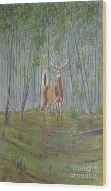 White-tailed Deer - Impressionistic Wood Print by Dana Carroll
