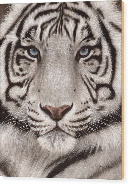 White Tiger Painting Wood Print