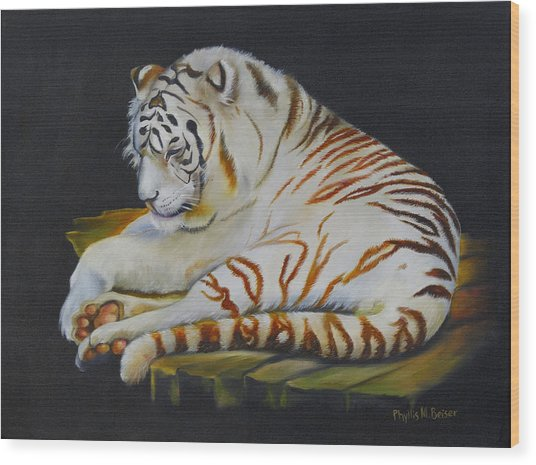 White Tiger Sleeping Wood Print