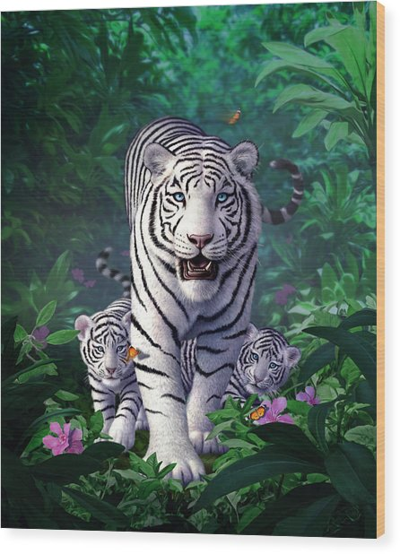 White Tigers Wood Print