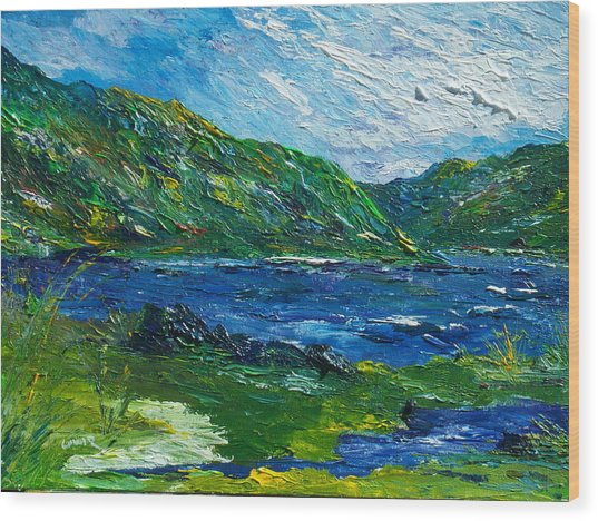 White Water In Kenmare  Kerry Wood Print