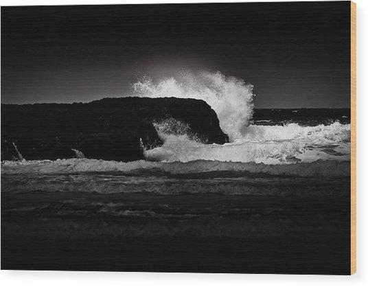 White Wave Wood Print