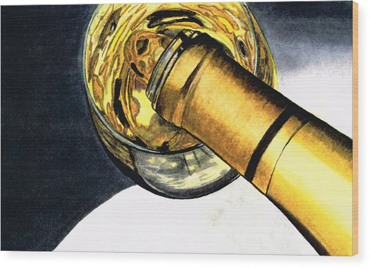 White Wine Art - Lap Of Luxury - By Sharon Cummings Wood Print
