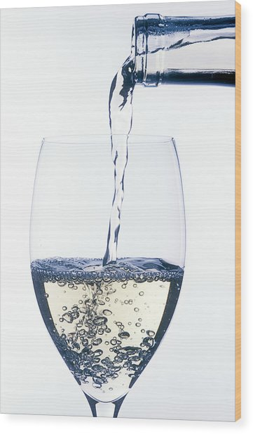 White Wine Pouring Wood Print