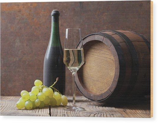 White Wine Wood Print by Sematadesign