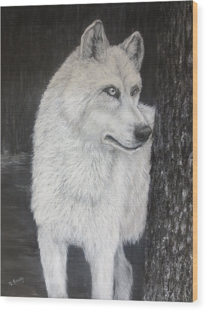 White Wolf On Guard Wood Print
