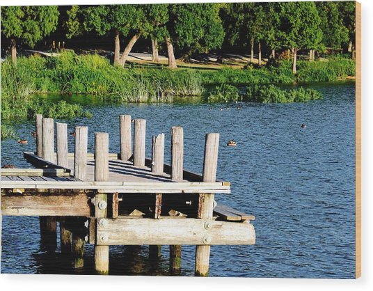 Whiterock Lake Pier Wood Print
