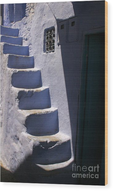 Whitewashed Steps In The Medina Of Asilah On Northwest Tip Of Atlantic Coast Of Morocco Wood Print