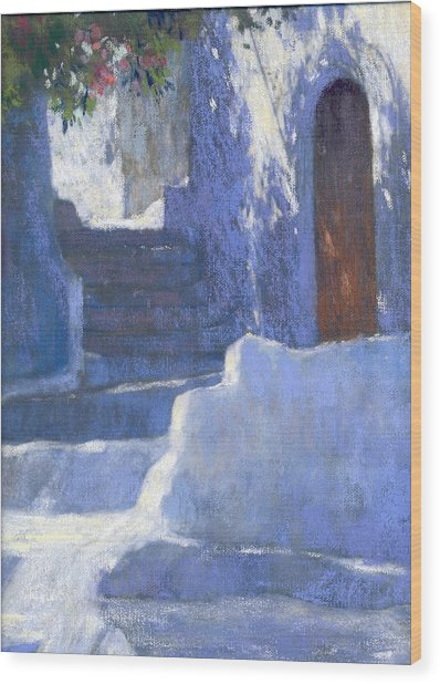 Whitewashed Steps  Wood Print by Jackie Simmonds