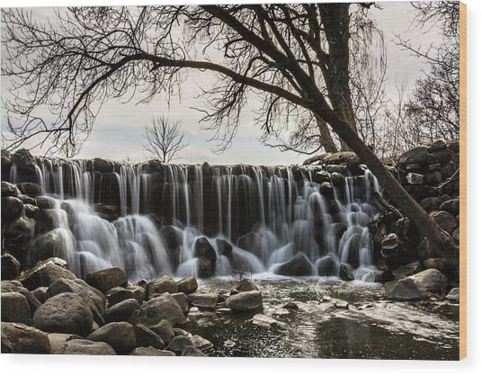 Whitnall Waterfall In Spring Wood Print