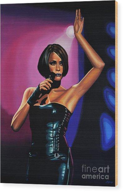 Whitney Houston On Stage Wood Print