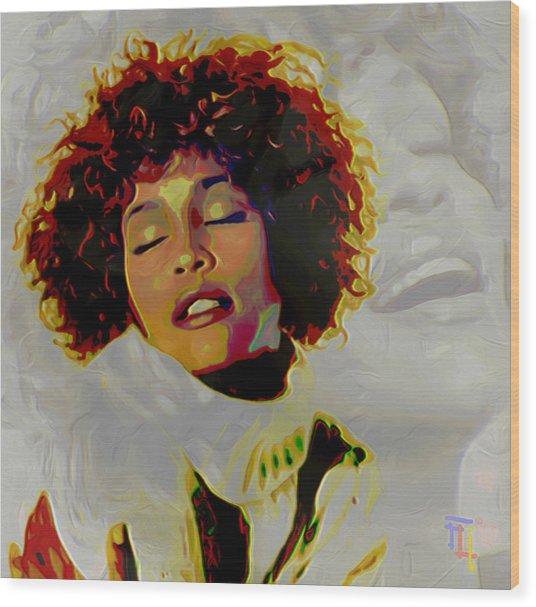 Whitney Houston Wood Print by  Fli Art