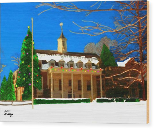 Whittle Hall At Christmas Wood Print