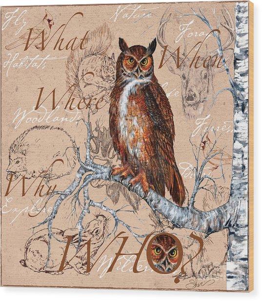 Who Owl Wood Print