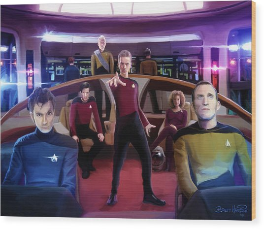 Who Trek Wood Print