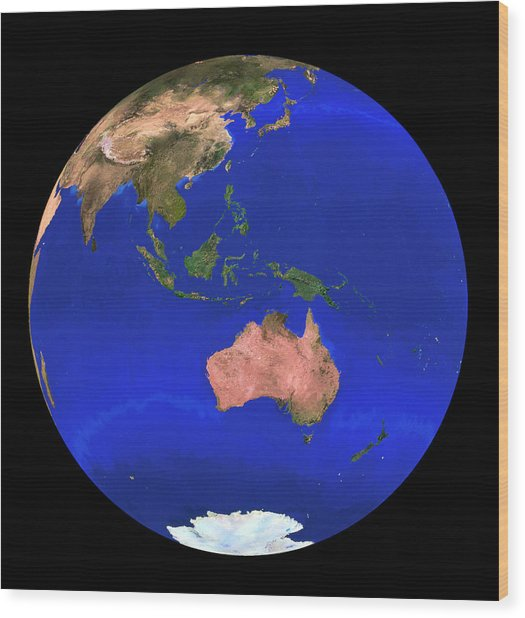 Whole Earth Noaa Satellite Mosaic (1km Resolution) Wood Print by Copyright 1995, Worldsat International And J. Knighton/science Photo Library