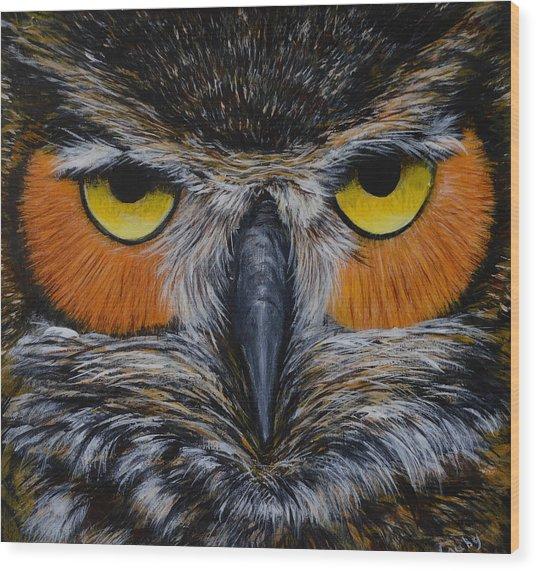Whooo Is Looking At You? Wood Print
