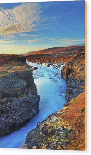 Wide Angle Of Hraunfossar Flowing Into Wood Print