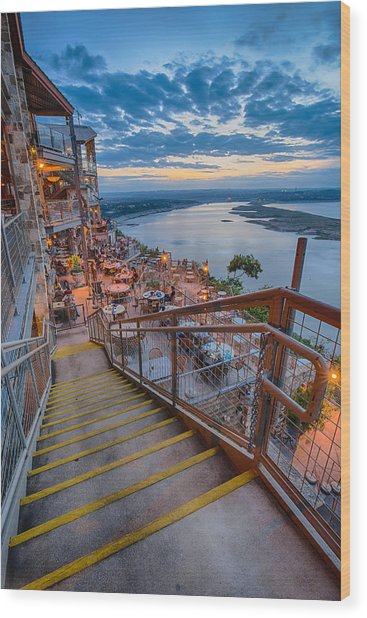 Wide Angle View Of The Oasis And Lake Travis - Austin Texas Wood Print