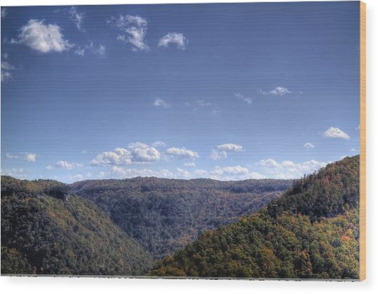 Wide Shot Of Tree Covered Hills Wood Print
