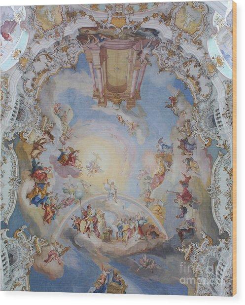 Wies Pilgrimage Church Bavaria Fresko Wood Print