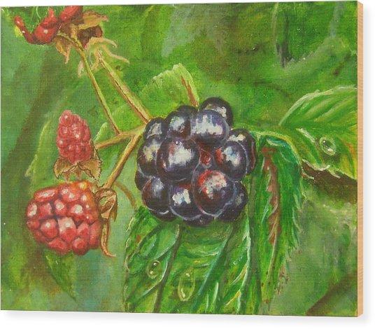 Wild Blackberries Wood Print