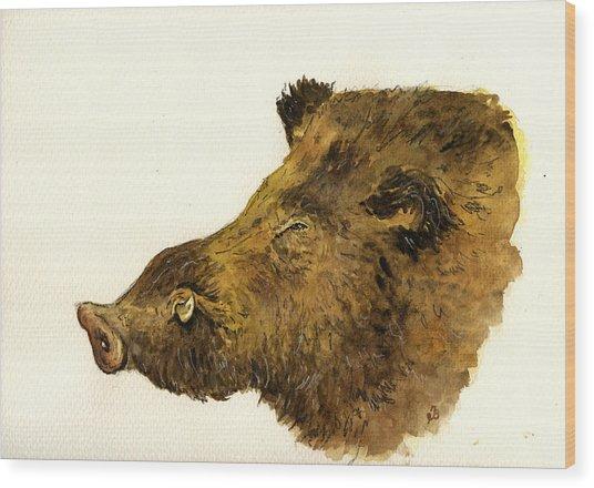 Wild Boar Head Study Wood Print