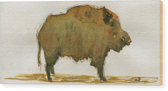 Wild Boar Wood Print