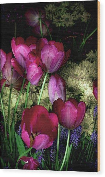 Wild Crazy Beautiful Tulip Garden Wood Print