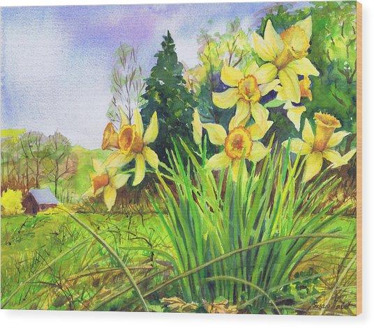 Wild Daffodils Wood Print