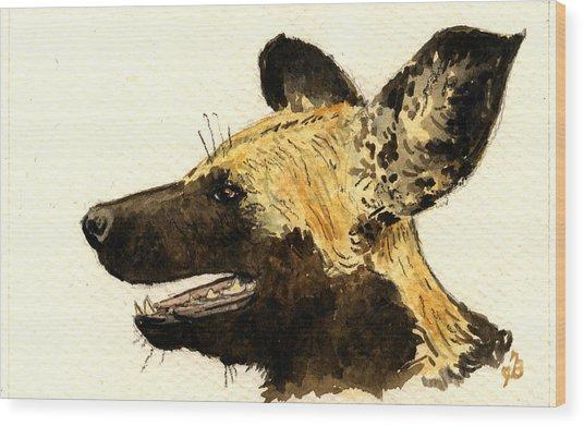 Wild Dog Lycaon Wood Print