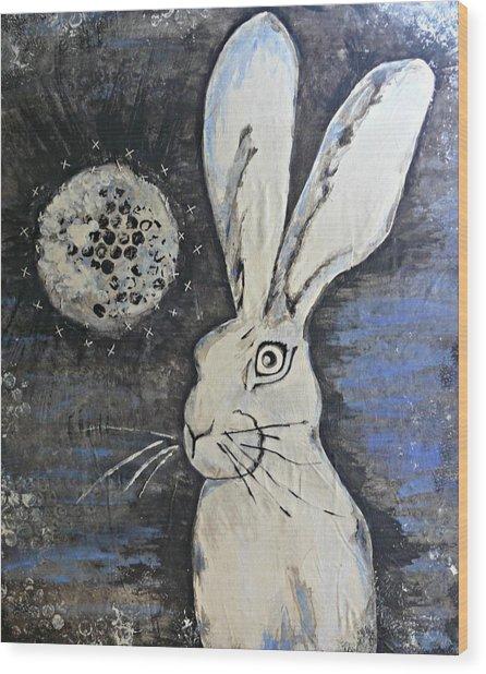 Wild Eyed Hare Wood Print by Laura Heilman
