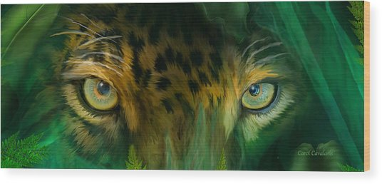 Wood Print featuring the mixed media Wild Eyes - Jaguar by Carol Cavalaris