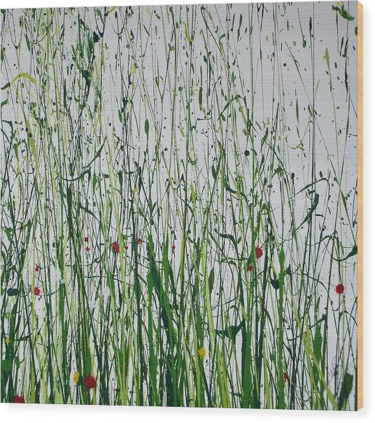 Wild Flowers And  Grasses No 4 Wood Print by Mike   Bell
