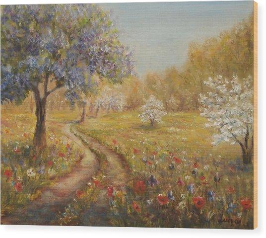 Wild Garden Path Wood Print