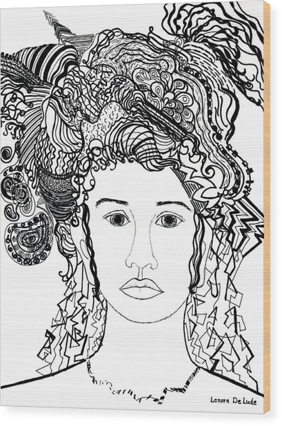 Wild Hair Portrait In Shapes And Lines Wood Print