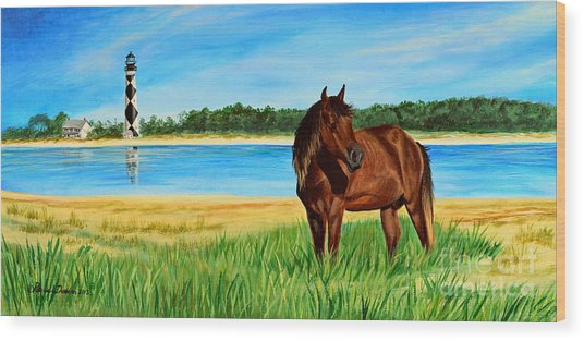 Wild Horse Near Cape Lookout Lighthouse Wood Print