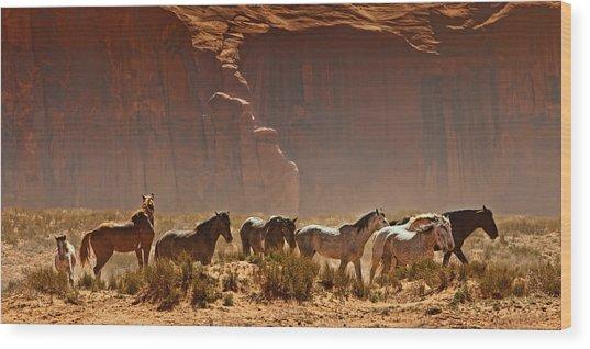 Wild Horses In The Desert Wood Print